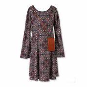 Speechless® Long-Sleeve Multi-Print A-Line Dress with Crossbody Bag - Girls 7-16