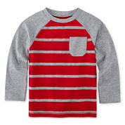 Okie Dokie® Long-Sleeve Striped Raglan Tee - Toddler Boys 2t-5t