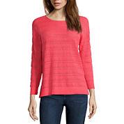 St. John's Bay® 3/4-Sleeve Pointelle Sweater