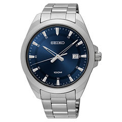 Seiko Mens Silver Tone Bracelet Watch-Sur207