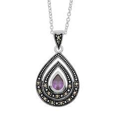 Sparkle Allure Le Vieux Marcasite Silver Over Brass Pendant Necklace