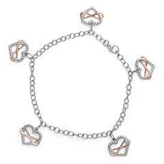 Womens White Diamond Sterling Silver Charm Bracelet