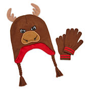 Moose Hat & Glove Set - Boys 8-20
