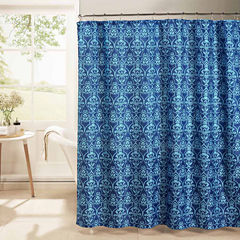Melissa Waffle Weave Textured Shower Curtain With Metal Roller Hooks