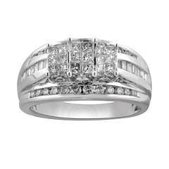 tw princess diamond 3 stone engagement ring - Jcpenney Wedding Ring Sets