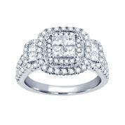 1½ CT. T.W. Princess & Round Diamond 14K White Gold Engagement Ring