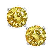 1½ CT. T.W. Color-Enhanced Yellow Diamond Stud Earrings
