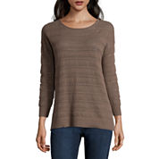 St. John`s Bay Long Sleeve Pullover Sweater-Petites