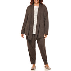 Liz Claiborne® Rib-Trim Open Cardigan, Stretch Boucle Sweater or Jogger Pants - Plus