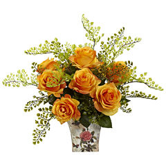 Nearly Natural Rose and Maiden Hair With Floral Planter