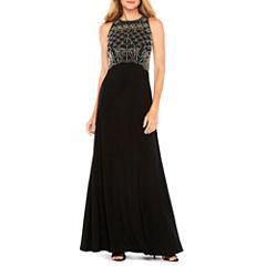 Jackie Jon Beaded Bodice Formal Gown
