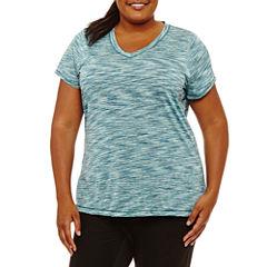 Xersion Short Sleeve V Neck T-Shirt-Womens Plus