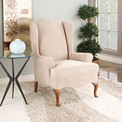 SURE FIT® Stretch Faux-Suede 1-pc. Wing Chair Slipcover