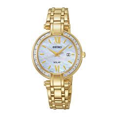 Seiko® Tressia Womens Diamond Gold-Tone Stainless Steel Solar Watch SUT182