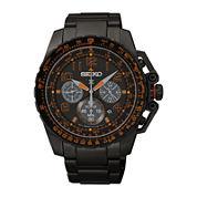 Seiko® Prospex Aviator Mens Black Stainless Steel Solar Chronograph Watch SSC277