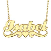 Personalized 14K Gold Over Sterling Silver Name Pendant Necklace