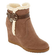 Liz Claiborne® Reston Faux-Fur Wedge Ankle Booties