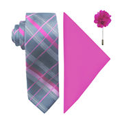 JF J. Ferrar® Fashion Grid Tie, Pocket Square and Lapel Pin Set