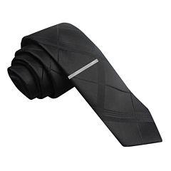 JF J. Ferrar® Graduated Plaid Skinny Tie and Tie Bar Set