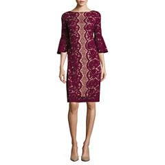 Danny & Nicole® 3/4-Bell-Sleeve Corded Lace Shift Dress