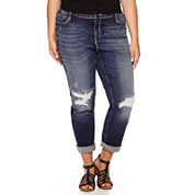 Boutique+ Destructed Boyfriend Denim Jeans - Plus