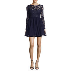 My Michelle Long Sleeve Lace Party Dress-Juniors