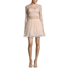 My Michelle Long Sleeve Beaded Party Dress-Juniors