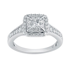 Womens 3/4 CT. T.W. Genuine Multi-Shape White Diamond 10K Gold Engagement Ring