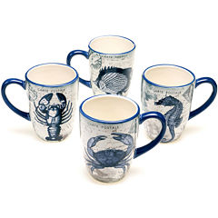 Certified International Coastal Postcards Set of 4 Mugs