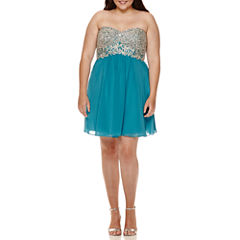 Decode Strapless Embellished-Bust Party Dress - Juniors Plus