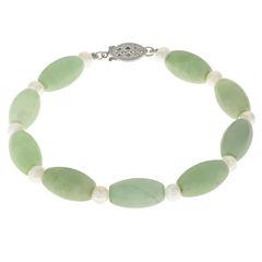 Cultured Freshwater Pearl & Genuine Jade Sterling Silver Bracelet