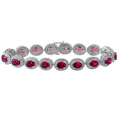 Lab-Created Ruby with Diamond Accents Sterling Silver Milgrain Link Bracelet