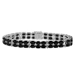 Genuine Black Sapphire & Diamond-Accent Sterling Silver Bracelet