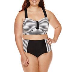 Arizona Summertime Stripe Swim Top or Stripe High-Waist Bottoms - Juniors Plus