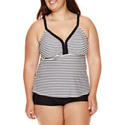 Arizona Summertime Striped Tankini Swim Top or Striped Swim Shorts - Juniors Plus
