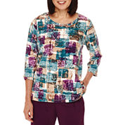 Alfred Dunner® 3/4-Sleeve Beaded-Neck Top