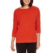 Sag Harbor® Artful Animal 3/4-Sleeve Chevron-Stitch Sweater