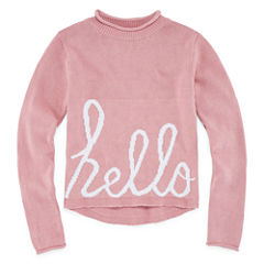 Say What Crew Neck Long Sleeve Blouse - Big Kid Girls