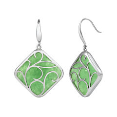 Cushion-Cut Dyed Green Jade Sterling Silver Filigree Drop Earrings