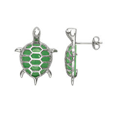Pear-Shaped Genuine Green Jade and Sterling Silver Turtle Stud Earrings