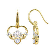 Heart-Shaped Genuine White Topaz and Diamond-Accent Claddagh Earrings