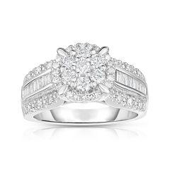 1 CT. T.W. Diamond 10K White Gold Cluster Ring