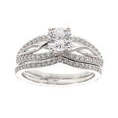 DiamonArt® Cubic Zirconia Sterling Silver Infinity Bridal Ring Set