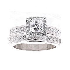 DiamonArt® Cubic Zirconia Sterling Silver Asscher-Cut Bridal Ring Set