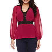 Bisou Bisou® Studded Peplum Top