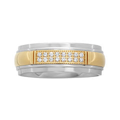 Personalized Mens 1/10 CT. T.W. Diamond 8mm Two-Tone Stainless Steel Wedding Band