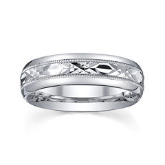 Personalized Mens 6mm Comfort Fit Sterling Silver Wedding Band