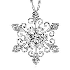 Diamond-Accent Sterling Silver Snowflake Pendant Necklace