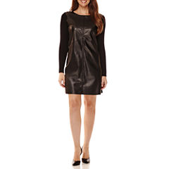 Worthington® Long-Sleeve Faux-Leather Front Sweater Dress