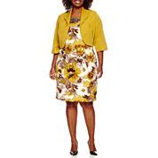 Maya Brooke 3/4-Sleeve Floral Jewel-Neck Jacket Dress - Plus